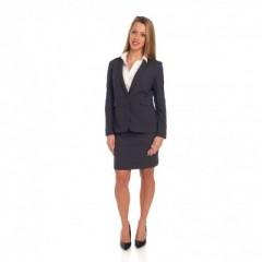 Grijze rok met bijpassende vest en (wit) hemd
